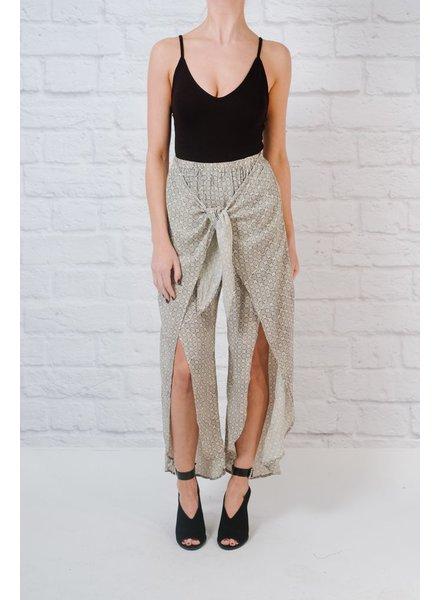Pants Tie front print pants