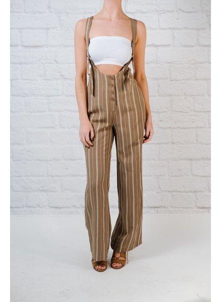 Jumpsuit Khaki suspender jumpsuit