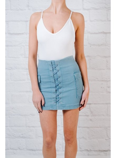Skirt Light denim laced mini
