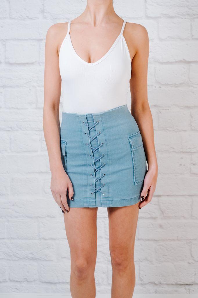 Skirt Light denim laced mini