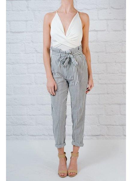 Pants Tie Belt Stripe Pants