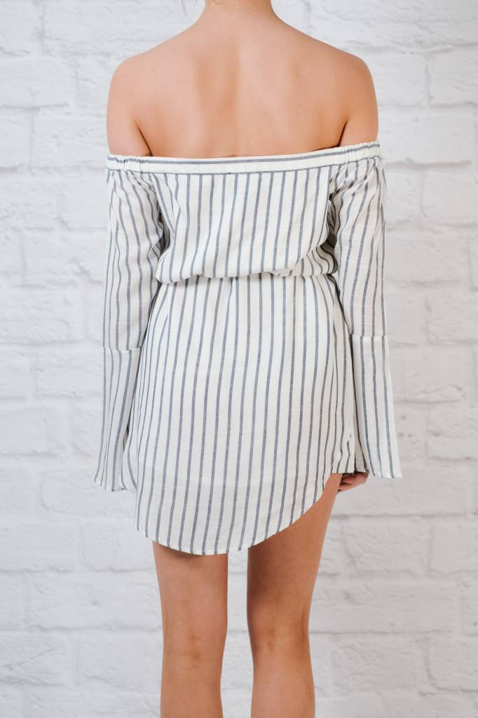 Casual Striped off-the-shoulder dress