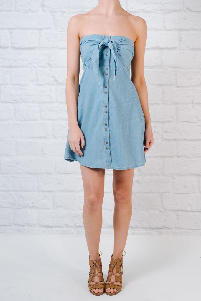 Casual Tie knot denim dress