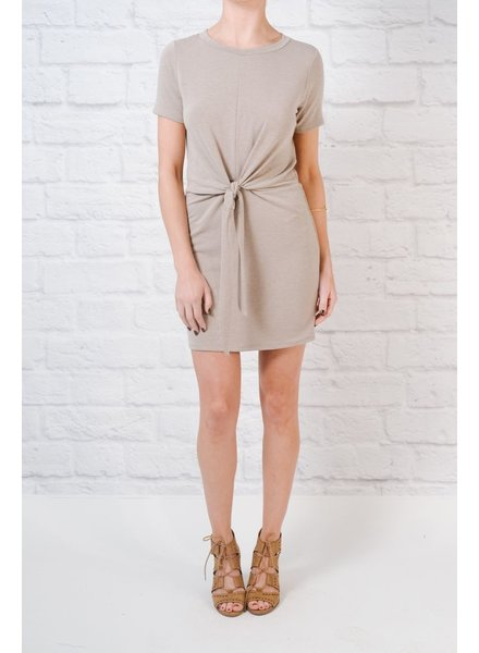 Casual Mocha tie detail t-shirt dress