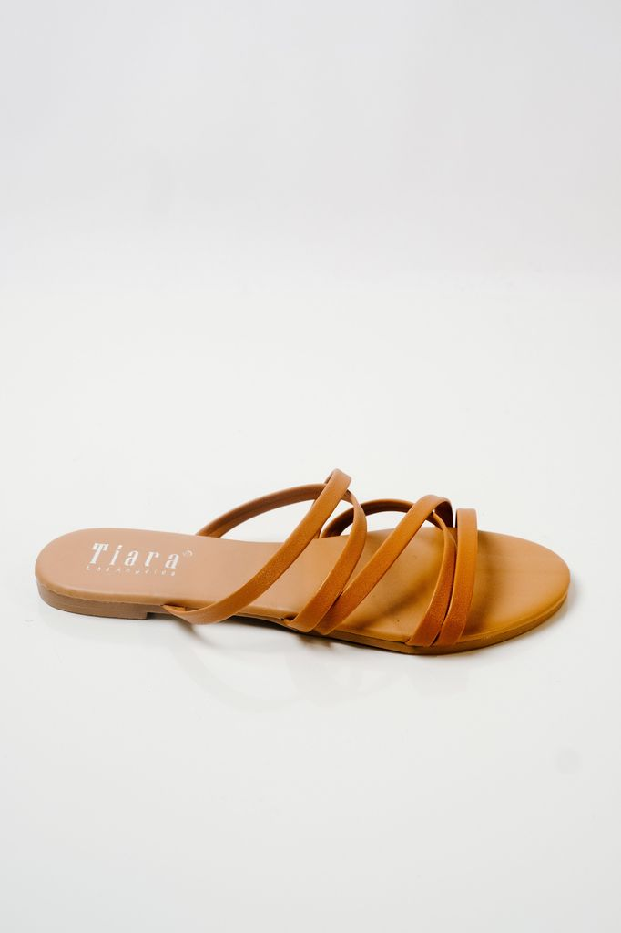 Sandal Strappy camel slides