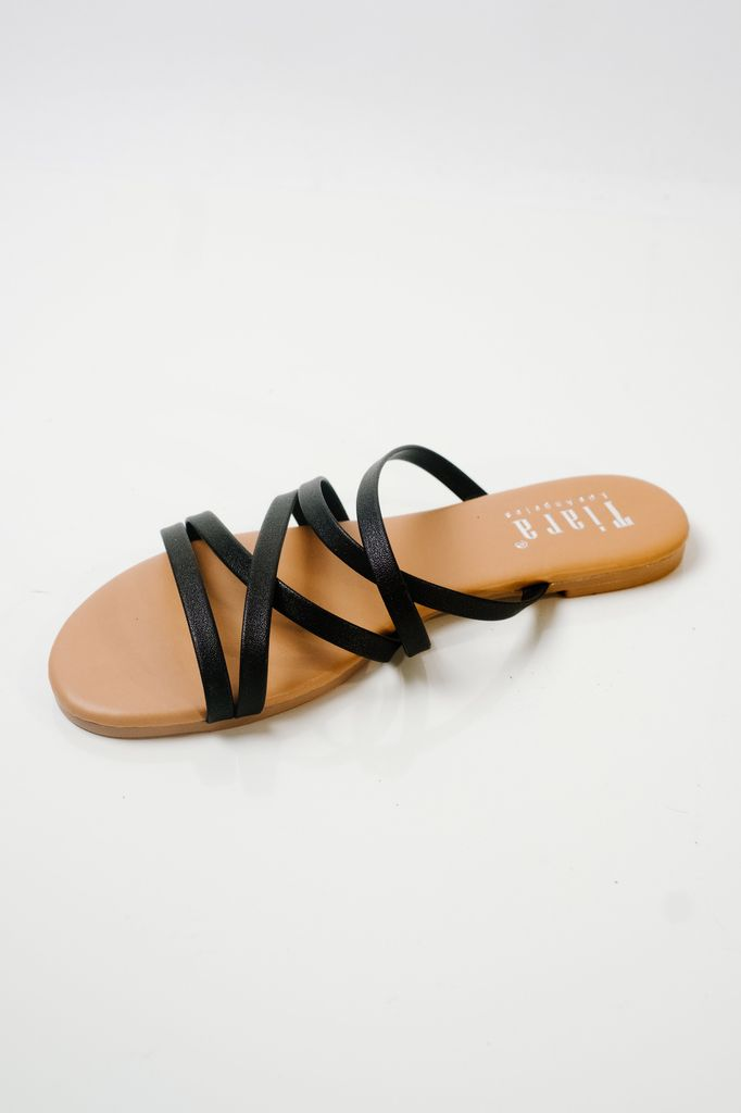 Sandal Black camel slides