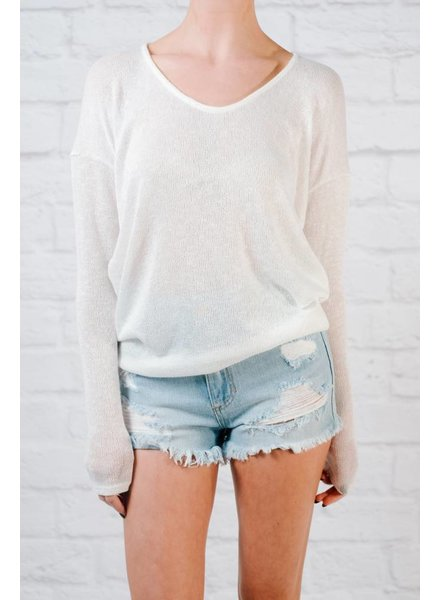 Sweater Ivory dolman sleeve knit
