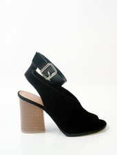 Sandal Ankle wrapped stacked heel wedge