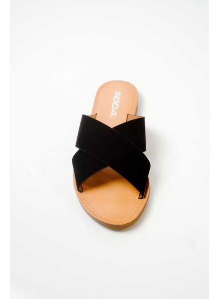Sandal Black double strap slide