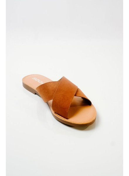 Sandal Brown double strap slide