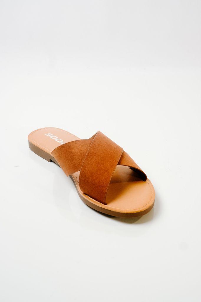 Sandal Brown double strap slide