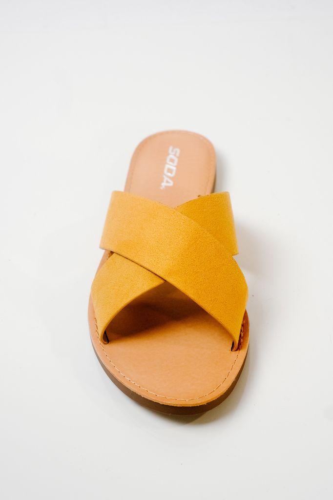 Sandal Mustard double strap slide