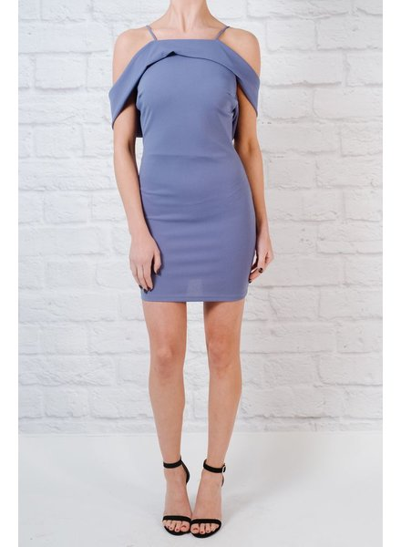 Mini Sky draped shoulder dress