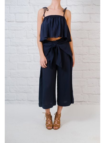 Pants Tie front cropped pants