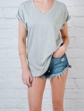 T-shirt V-Neck Cuffed Sleeve Tee *3COLORS!