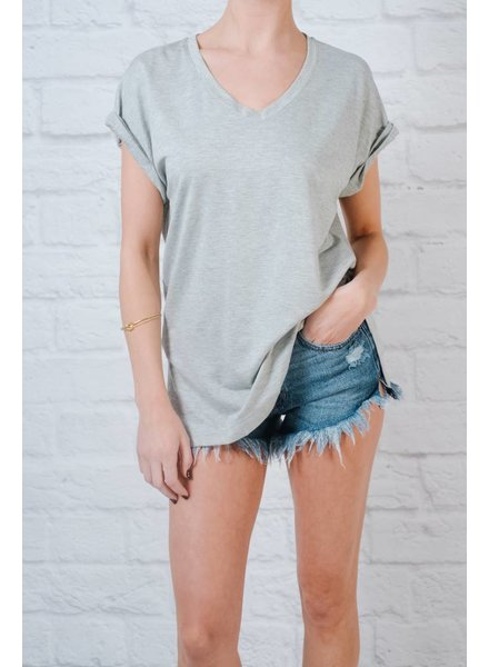 T-shirt V-Neck Cuffed Sleeve Tee *3COLORS!