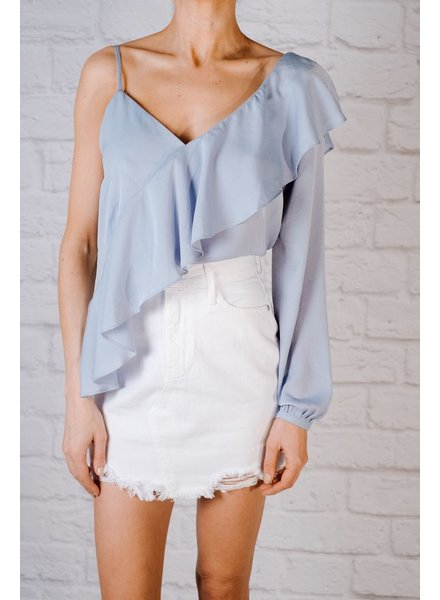 Blouse Satin asymmetric ruffle blouse