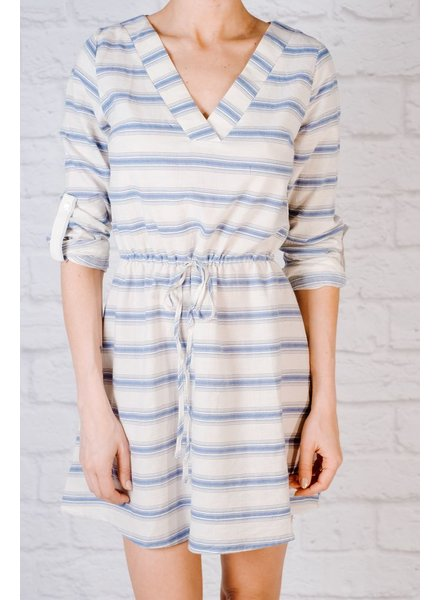 Casual Striped split neck dress