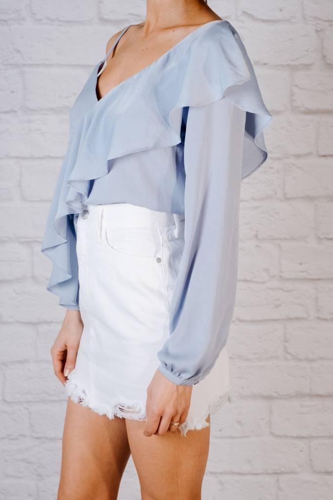 Blouse Satin asymmetric ruffle blouse