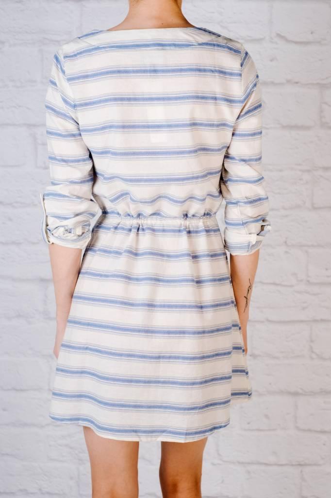 Casual Striped split neck dress