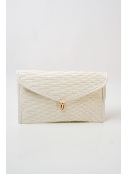 Clutch Ivory straw envelop clutch