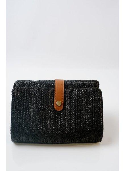 Black woven foldover clutch