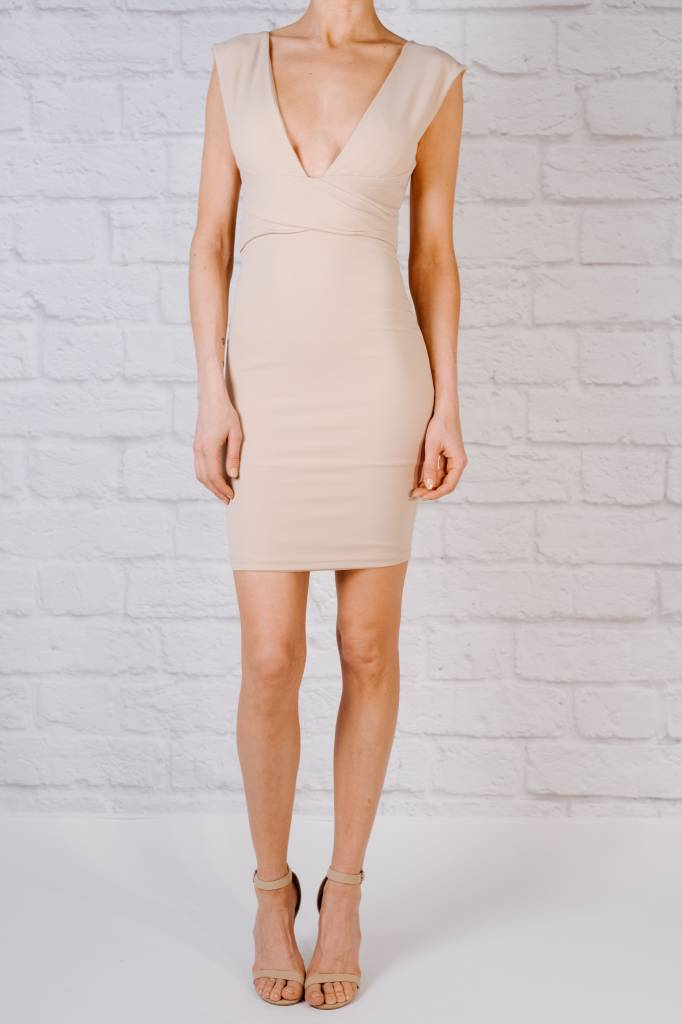 Midi Deep V Body Con Dress