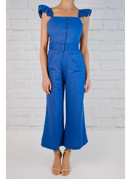 Jumpsuit Ruffle Shoulder Culotte Jumpsuit