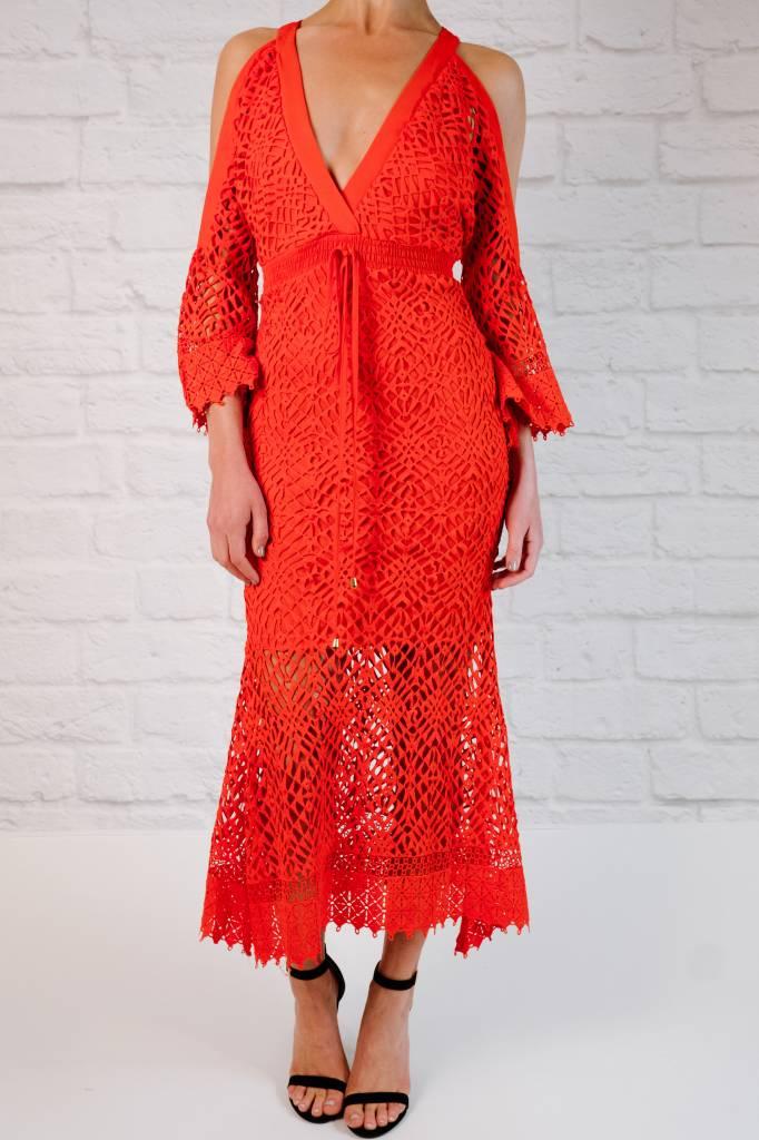 Midi Crochet Cold Shoulder Midi Dress