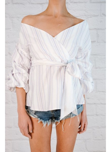 Blouse Striped balloon sleeve blouse