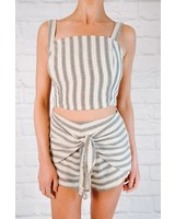 Tank Graphite striped square neck tank