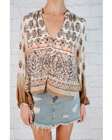 Blouse Printed Peasant Top
