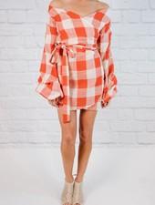Mini Plaid Off the Shoulder Dress