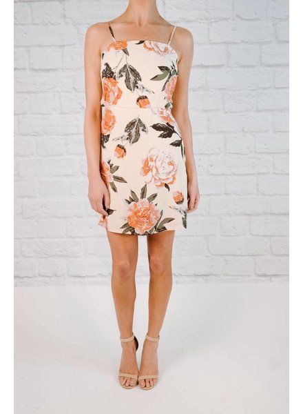 Mini Floral Open Back Shift Dress