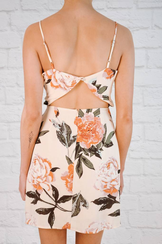 Mini Floral Open Back Shift Dress