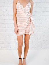 Mini Red and Ivory Tie Front Dress