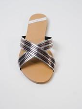 Sandal Silver cross toe slide