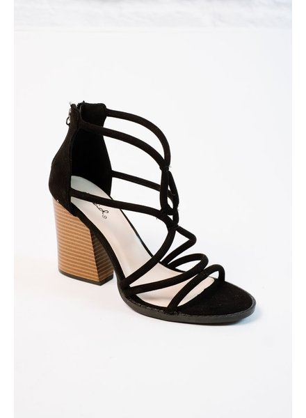 Casual Strappy stacked wood heel shoe
