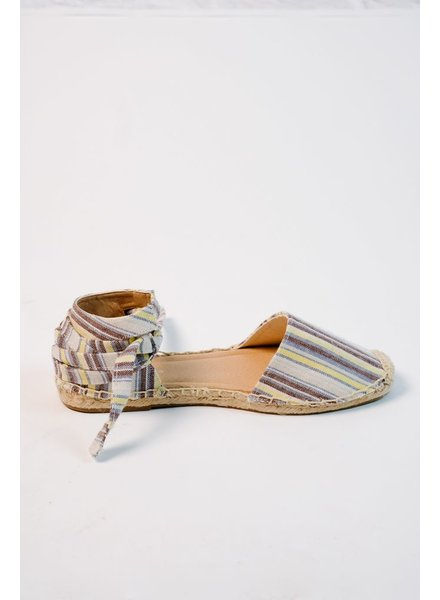 Flat Striped wrap espidrille