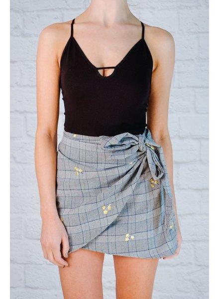 Skirt Plaid embroidered mini skirt