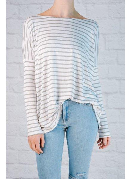 T-shirt White & grey striped jersey favorite tee