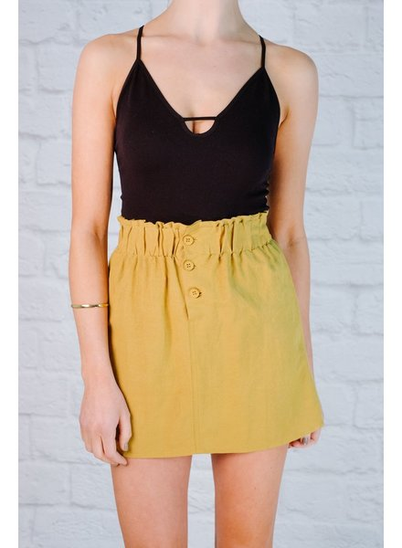 Skirt Linen dijon button skirt