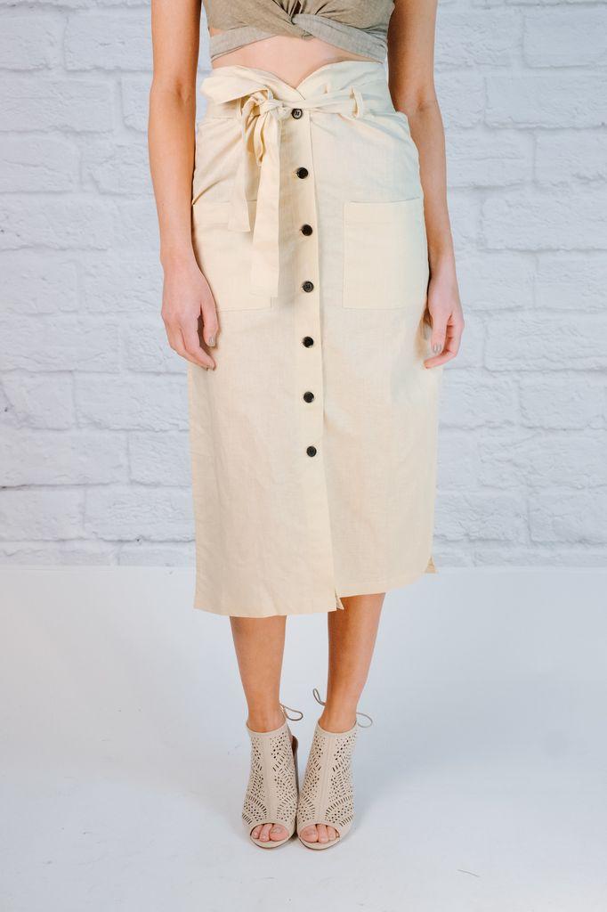 Skirt Front button midi skirt