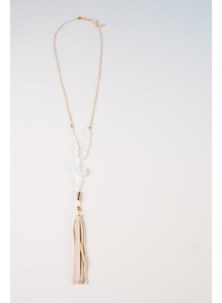 Long Clear beaded tassel necklace