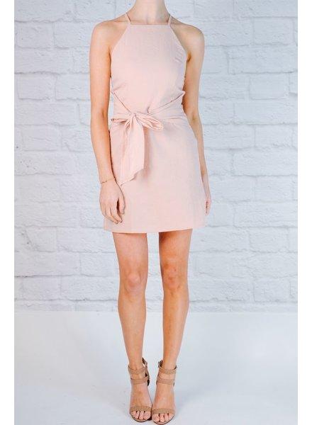 Mini Pink chambray side tie dress