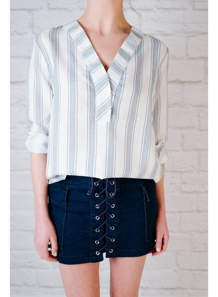 Blouse Blue striped split neck top
