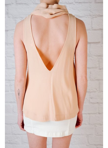 Tank Nude mock neck draped tank