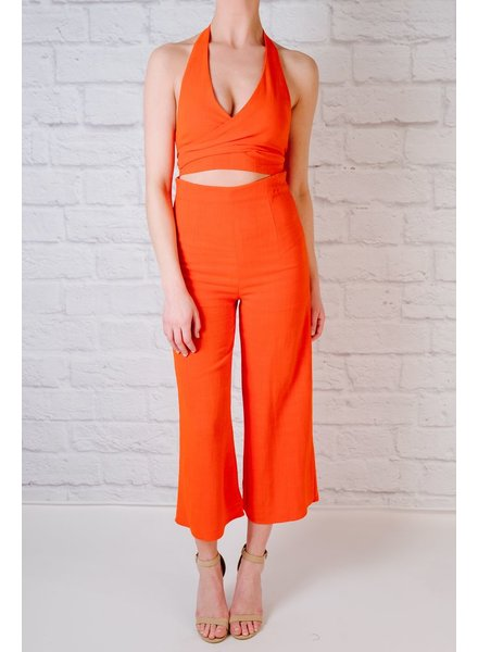 Tomato red high rise culottes
