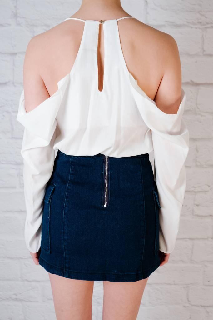 Blouse Draped cold shoulder blouse
