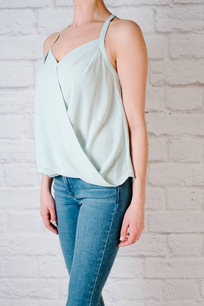 Blouse Overlap Draped Front Top